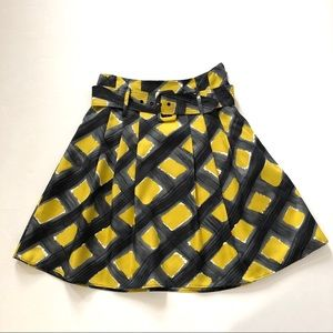 The Limited Gray & Gold Print Pleated Flare Skirt